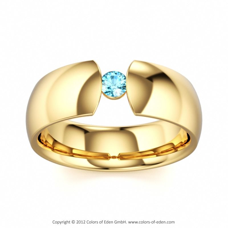 Solitaire Engagement Ring DAVID AND GOLIATH at Colors of Eden #blue #engagement #ring