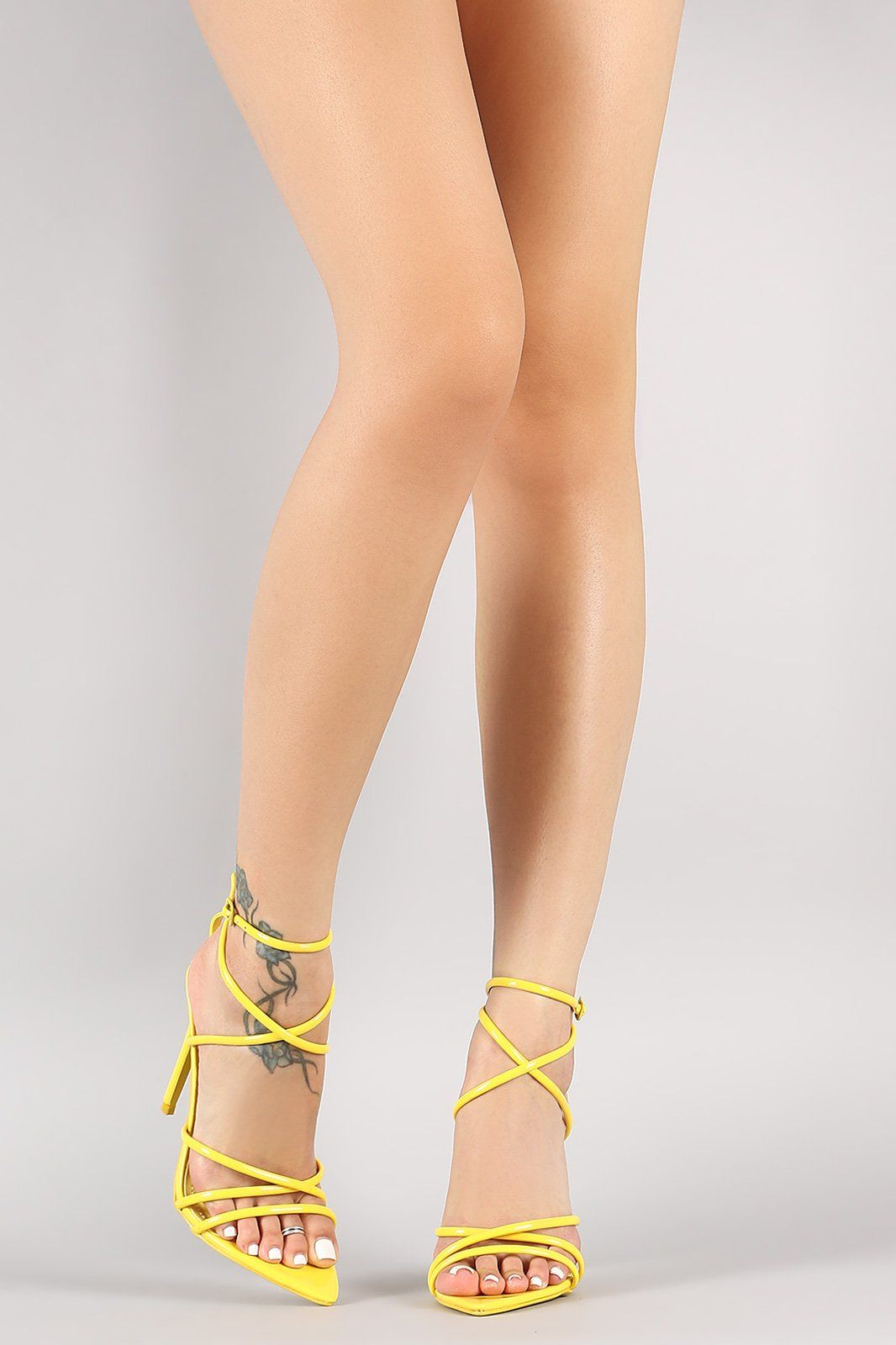 eb8cebbaa2b Strappy Patent Pointed Open Toe Stiletto Heel