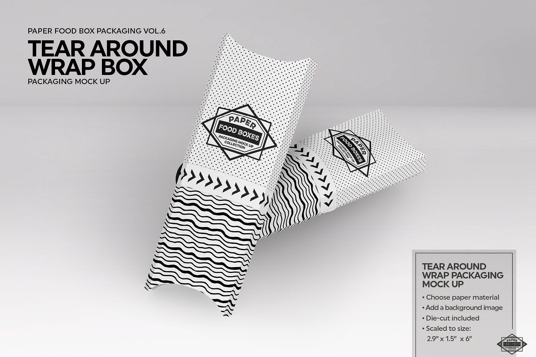 Download Tear Around Wrap Packaging Mockup Packaging Mockup Free Packaging Mockup Food Box Packaging