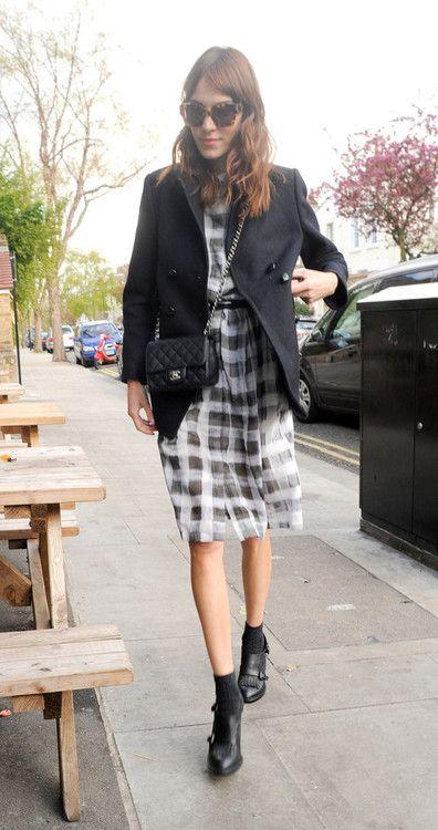 bw check dress black blazer black shoes and bag