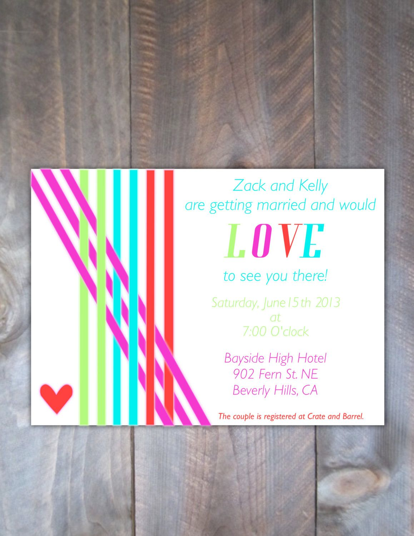 Neon Wedding Invitations\