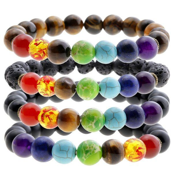 JOVIVI 7 Chakra Gemstones Bracelet 10mm Natural Gemstone Yoga Reiki Prayer Stone - Pack of 4