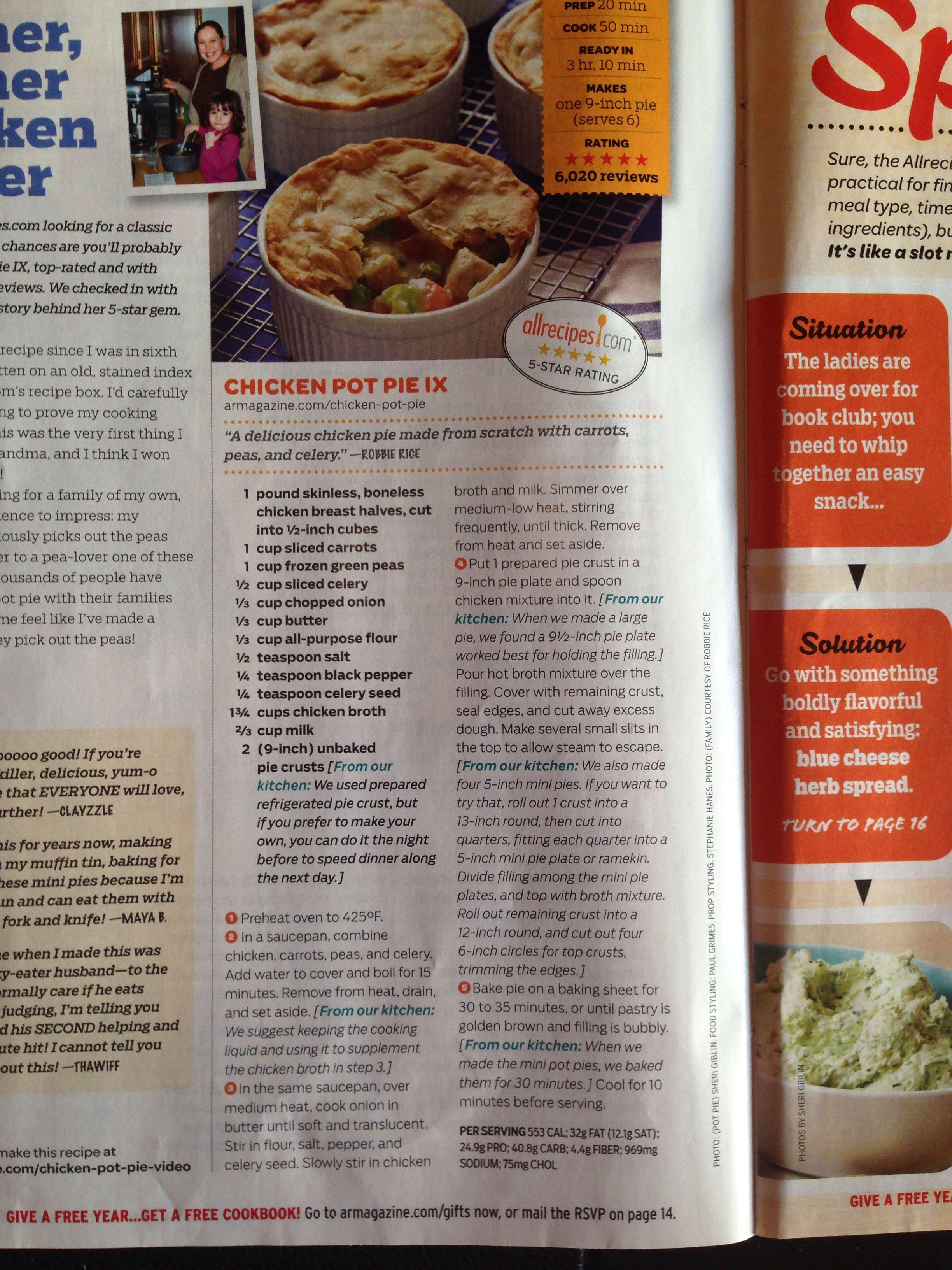 Chicken pot pie ix   Recipes Galore   Pinterest