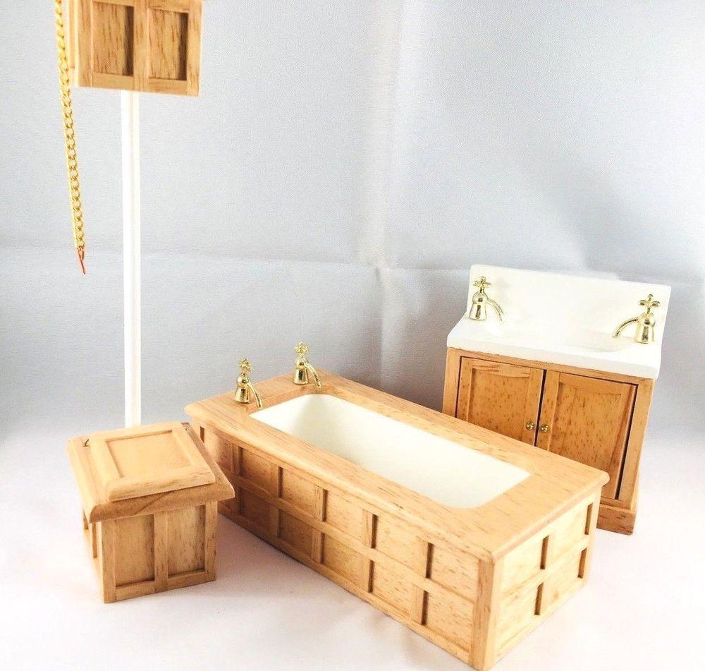 1/12th Scale Dolls House Wooden 3pc Bathroom | Dolls U0026 Bears, Dollsu0027