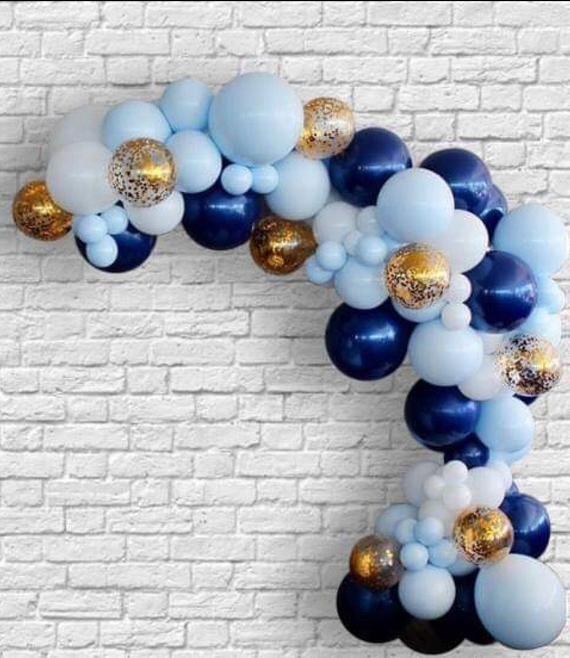120 pcs 1st Birthday balloon garland kit-Boy First Birthday-Shades of Blue and Navy balloon arch-Birthday balloons