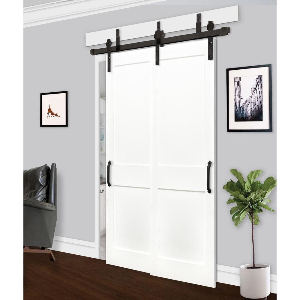Pacific Entries 48in X80in Bypass Shaker Unfinished 2 Panel Solid Core Prime Pine Wood Sliding Barn Door With Bronze Hardware Kit Byp2220 4880 10b The Home D Interior Barn Doors Barn Door Bypass Barn Door