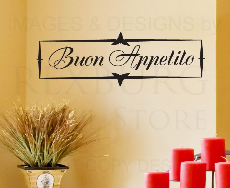 Wall Decal Art Sticker Quote Vinyl Decorative Buon Appetito Italian ...