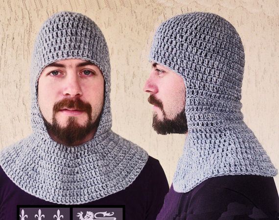 Crochet Chainmail Coif Grey Medieval Coif Knight Helmet Hats