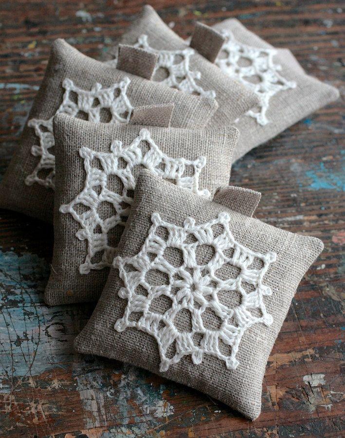 Lavender Sachets Crochet Motif Set Of 5 Crochet Lavender