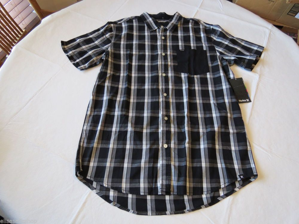 Men's Hurley shirt button up xlarge XL surf skate NEW plaid white BLK MVS0001550