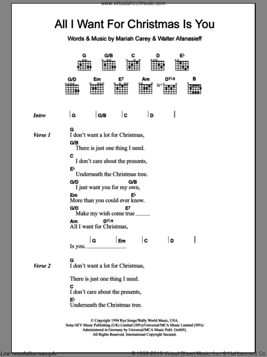 All I Want For Christmas Is You Sheet Music For Guitar Chords By