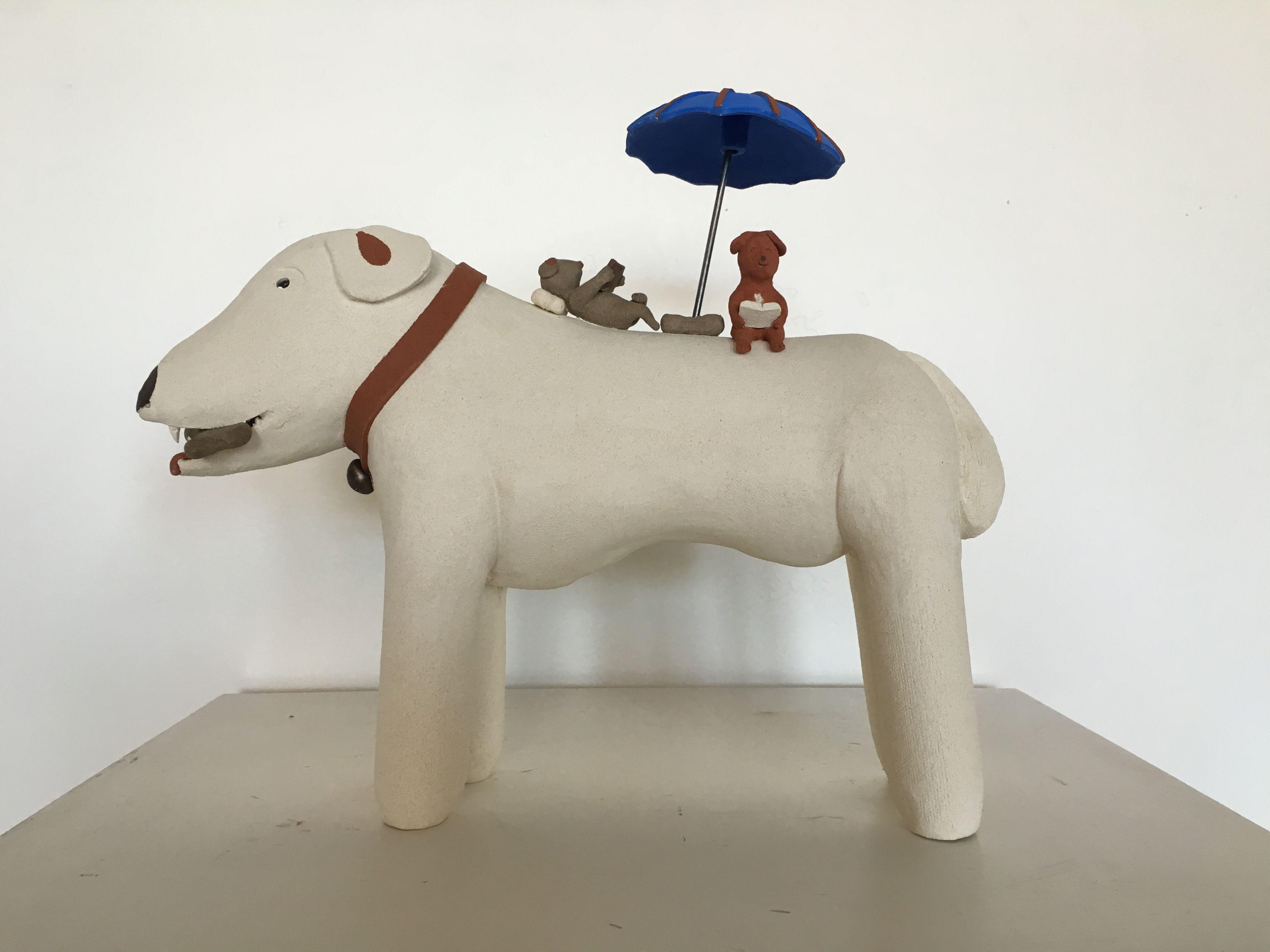 Dogs in Respite by Wataru Sugiyama ceramic sculpture at Hanson Howard Gallery