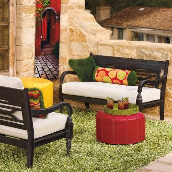 It's easy to feel refreshed by daydreams of tropical beach vacations when you're lounging upon our Maldives Furniture Collection. Create an exotic oasis on your porch or your terrace when you combine all three pieces. Crafted from sturdy, all-weather hardwoods. Each piece is hand-finished in Weathered Black. For additional comfort and tranquility, add our plush, weather-resistant cushions