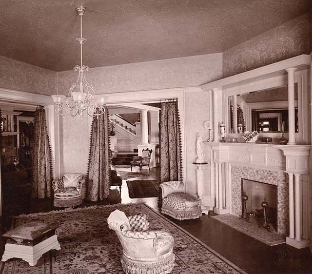 Victorian Parlor 1890's Note curtained doorways