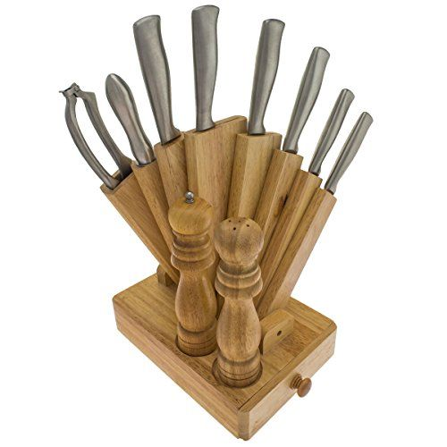 11-teiliges Messerset im Edelholzblock inkl. Pfeffermühle - http://besteckkaufen.com/oramics/11-teiliges-messerset-im-edelholzblock-inkl