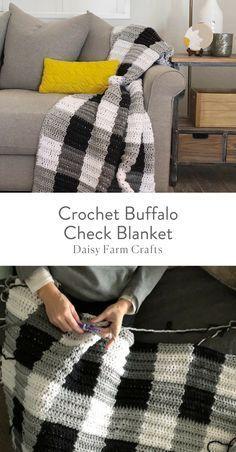 Free Pattern - Crochet Buffalo Check Blanket #afghanpatterns