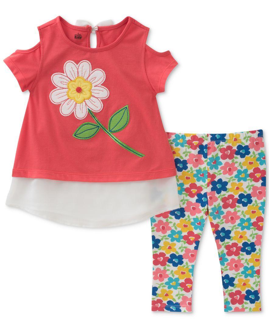 f92c2795af209 Kids Headquarters 2-Pc. Cold-Shoulder Tunic & Floral-Print Capri Leggings  Set, Toddler Girls (2T-5T)