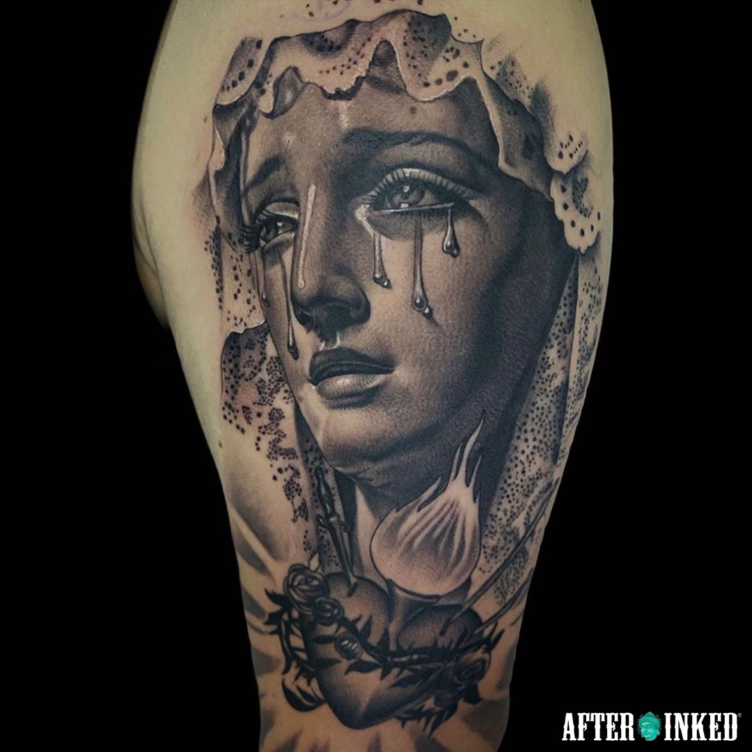 Today We Will Show You Tattoos Of The Virgin Mary Made By Excellent Artists Enjoy Them Virginmary Holyweek Ea In 2020 Piercing Aftercare Tattoo Aftercare Tattoos