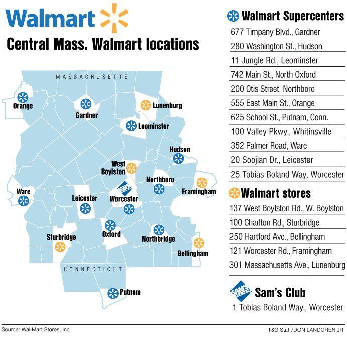 Central Mass Wal Mart Stores Map Walmart Locations Lunenburg Leominster Massachusetts