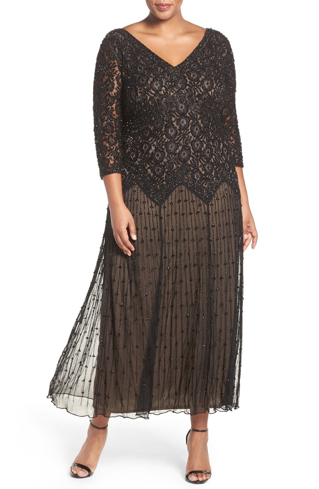 645c8e72628 Pisarro Nights Beaded V-Neck Lace Illusion Gown (Plus Size) available at   Nordstrom
