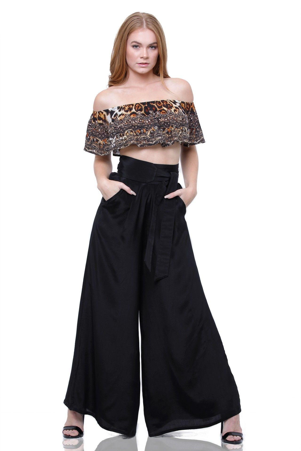 05b7c2b16e6 Cold Shoulder Ruffle Crop Top in Leopard Print | SP loves / animals ...