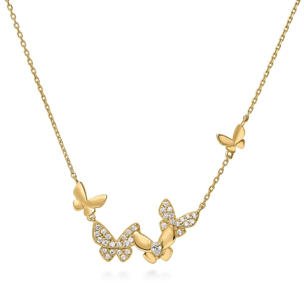 BERRICLE Gold Flashed Sterling Silver CZ Cross Fashion Pendant Necklace
