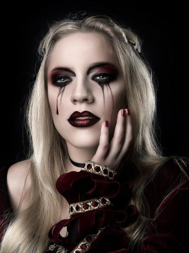 Gothic Vampire Makeup With Tear Smudged Eyes And Ombre Lips