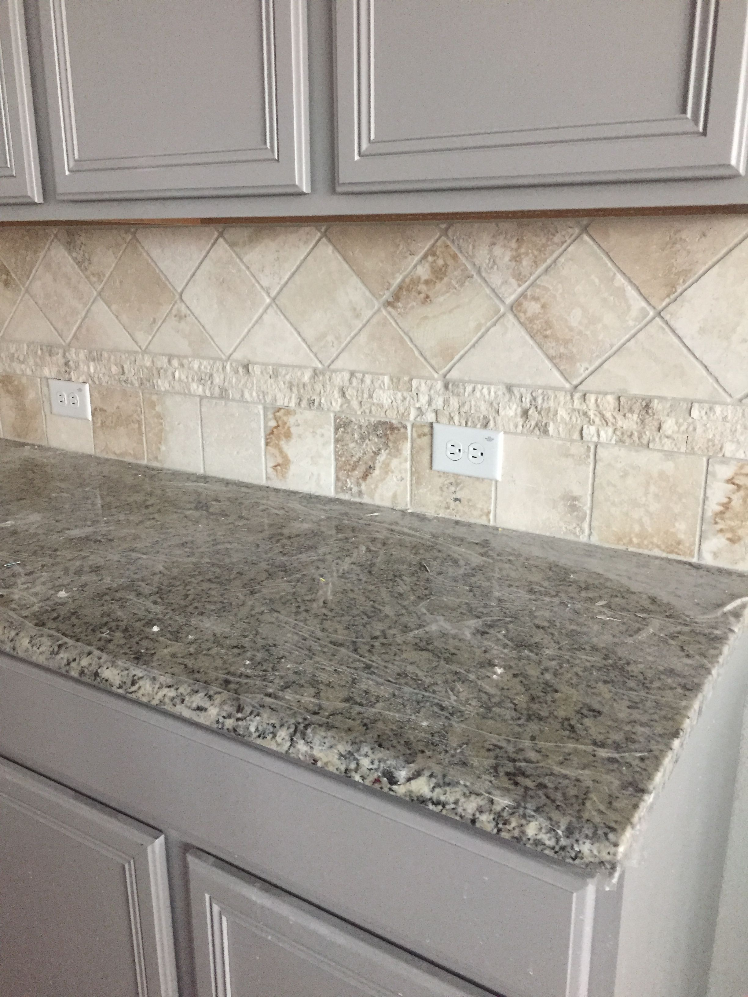 Gray Kitchen Cabinets Travertine Backsplash Santa Cecilia Light