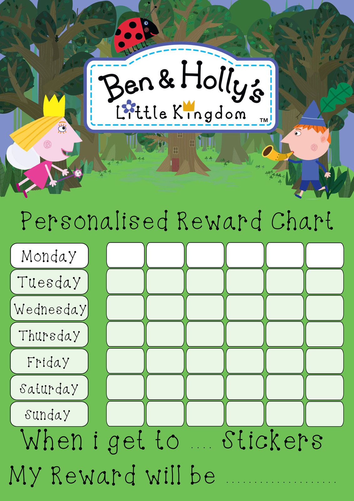Ben 10 Personalised Reward Chart With Free Stickers And Pen Other Pre School Young Children Toys