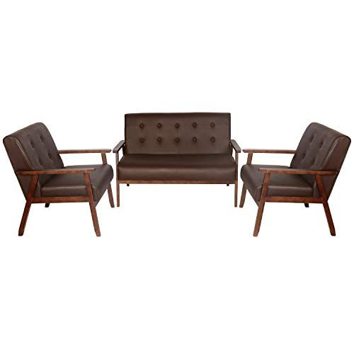 JIASTING Mid Century 1 Loveseat Sofa and 2 Accent Chairs Set Modern Wood Arm Couch and Chair Living Room Furniture Se...