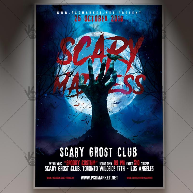 Halloween Scary Madness - Seasonal Flyer PSD Template #blood - zombie flyer template