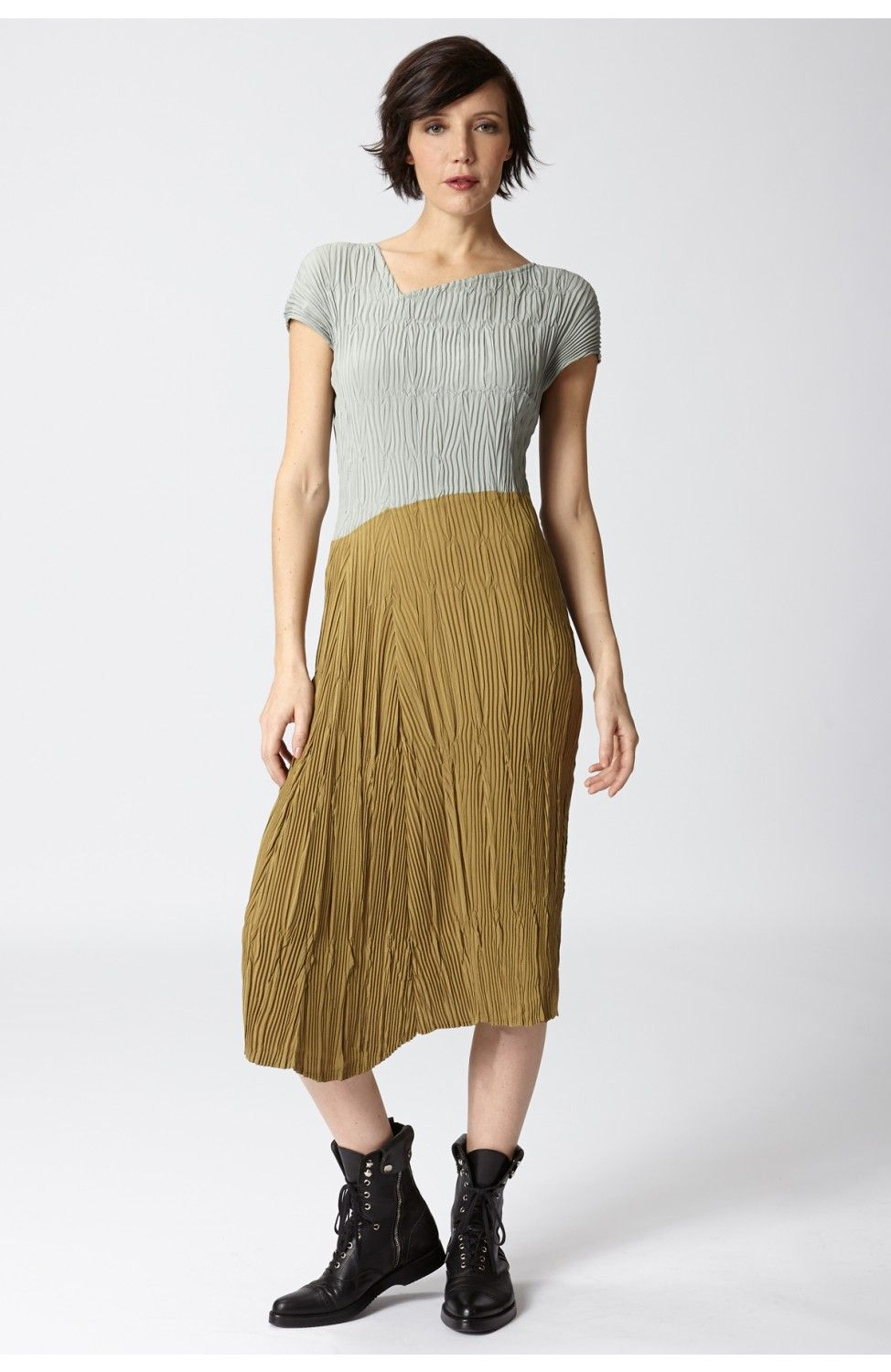 Color block dress in sage and dark mustard at babette