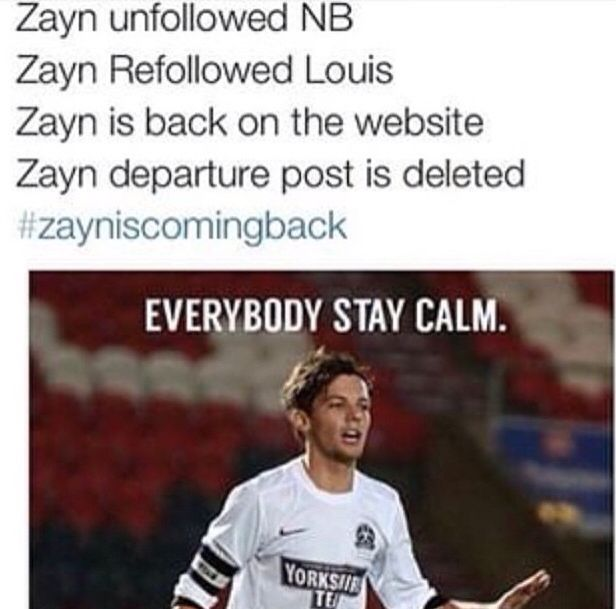 I don't think we want him back after all the shit he's done. Sorry to anyone who does but I'm going to stay with Louis on this one! Since he's the one that actually stuck up for us, zayn forgot about us without a care in the world