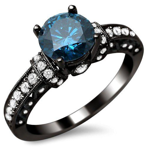 Love this color 1 35ct Blue Round Diamond Engagement Ring 14k