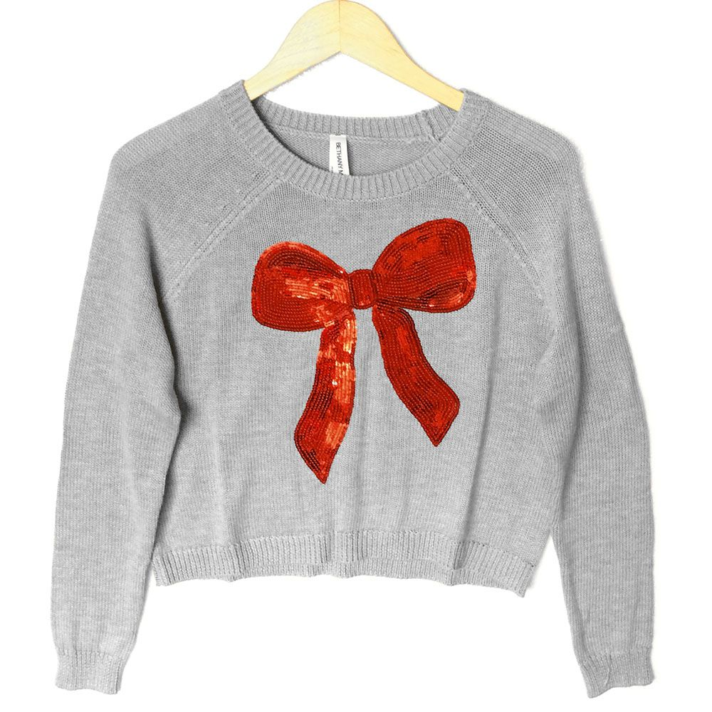 Bethany Mota Sequin Bow Cropped Ugly Christmas Sweater | Ugly ...