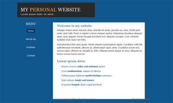 Simple Personal Template Website Templates Free website
