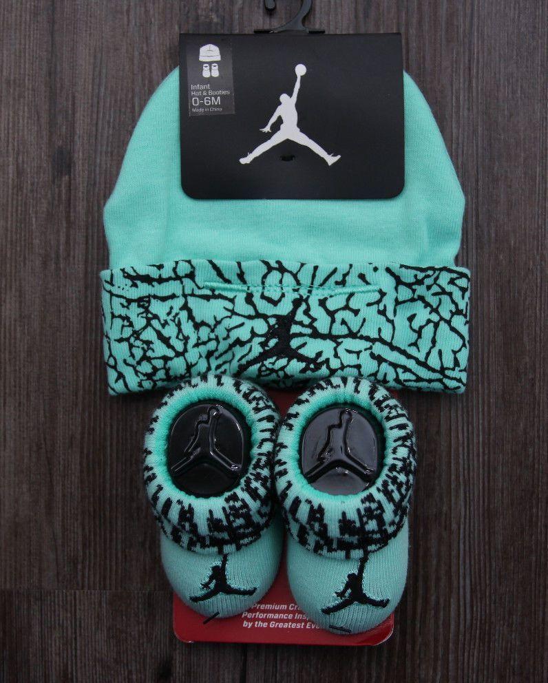 brand new d9f74 8deab Air Jordan Baby Boy Infant Hat   Booties Set ~ Mint Green   Black ~ 0-6  Months  Jordan  Hat Booties  Jumpman  BabyBoy