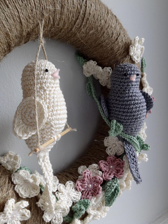 Photo of Custom crochet wreath. #crochet #wreath #birds #crocherflowers
