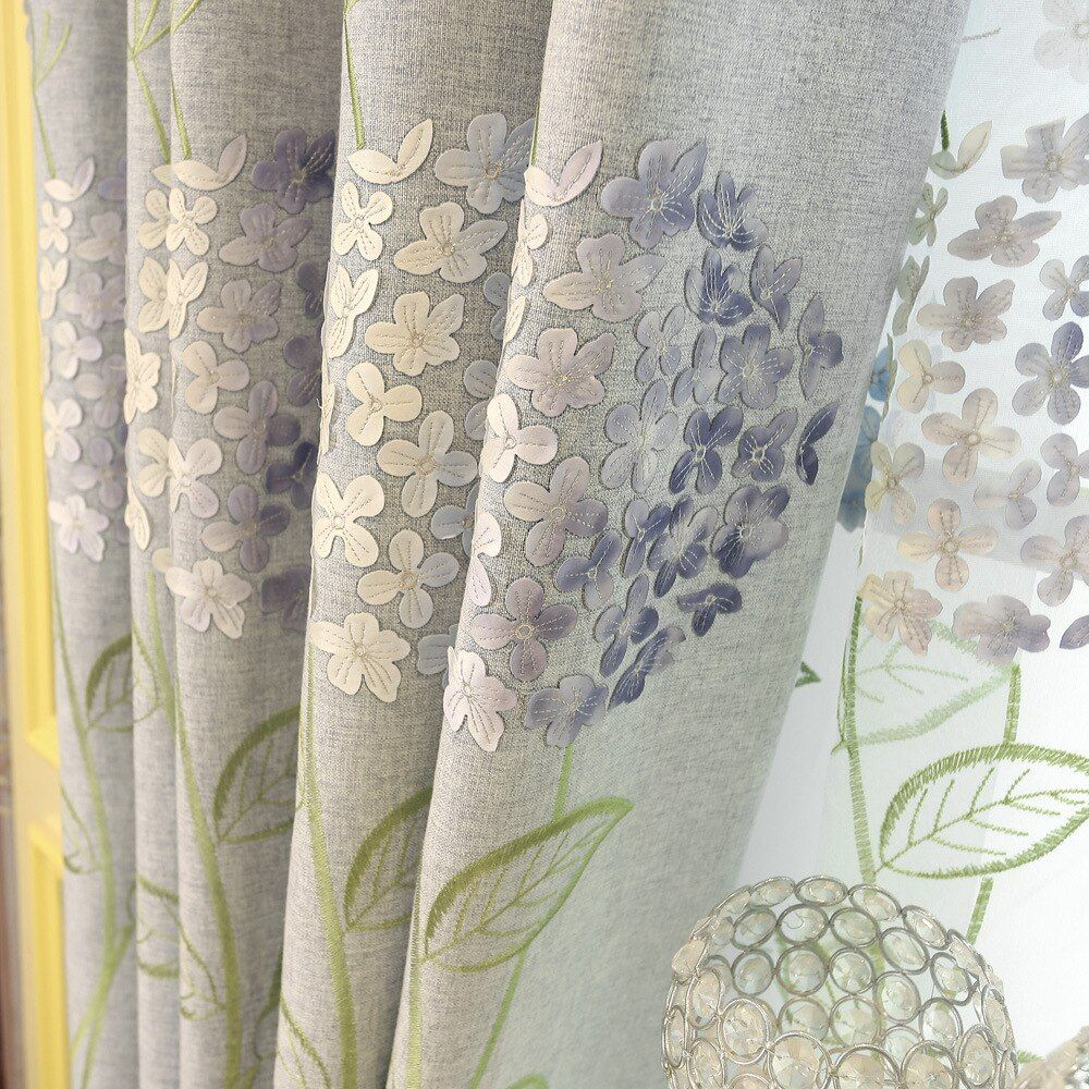 Curtains Cloth for Living Room Flower Curtain for Bedroom Window Gauze Art Curtains for Dining Finished Products.