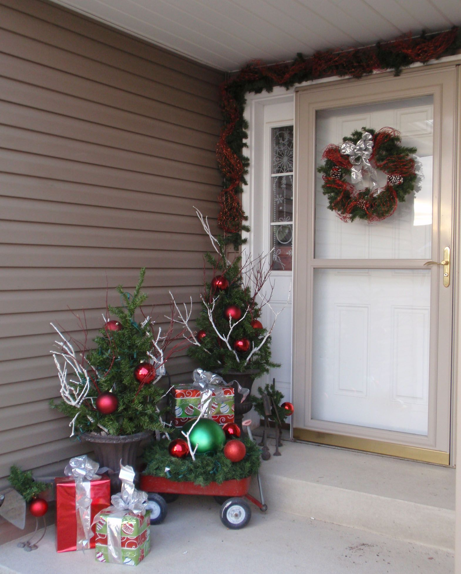 Christmas Front Door Decorations Little Red Wagon Twigs And
