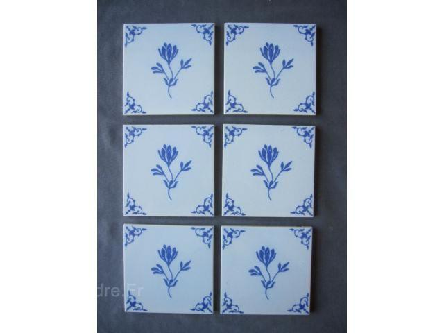 Lot de 6 carreaux en faience desvres motif bleu carrelage an desvres pinterest motifs for Comcolle carrelage desvres