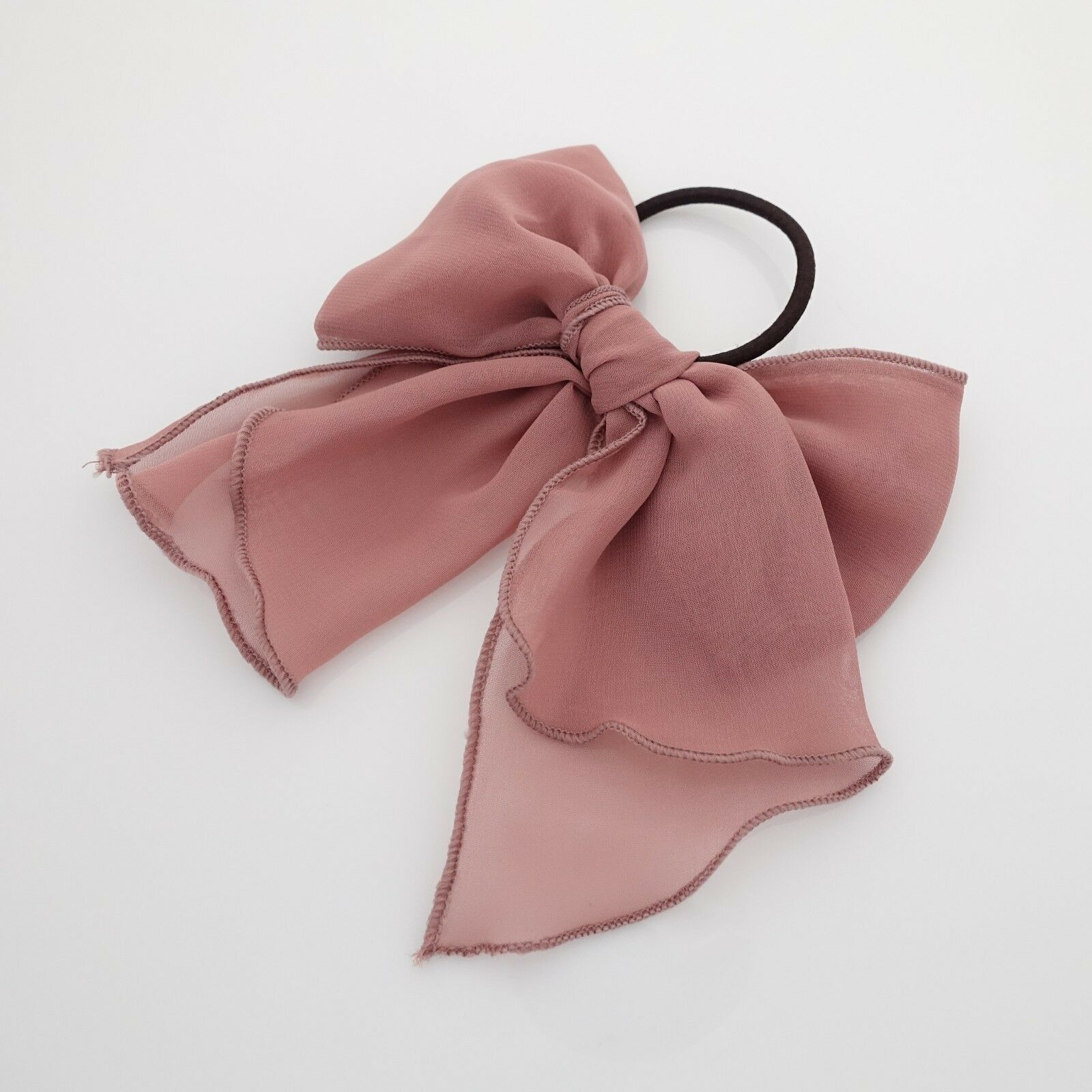 Details about Chiffon solid color bow knot hair tie elastic ponytail holder for women