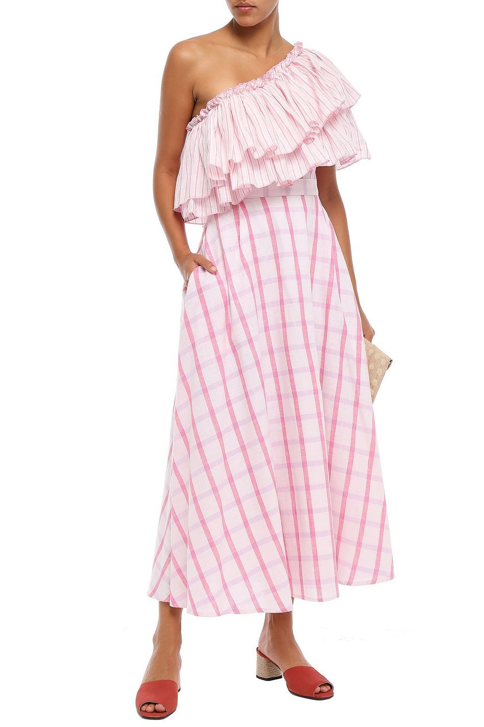 Baby Pink One Shoulder Ruffled Striped Cotton Gauze Midi Dress Sale Up To 70 Off The Outnet Gul Hurgel Midi Dress Sale Designer Maxi Dress Dresses [ 1425 x 950 Pixel ]