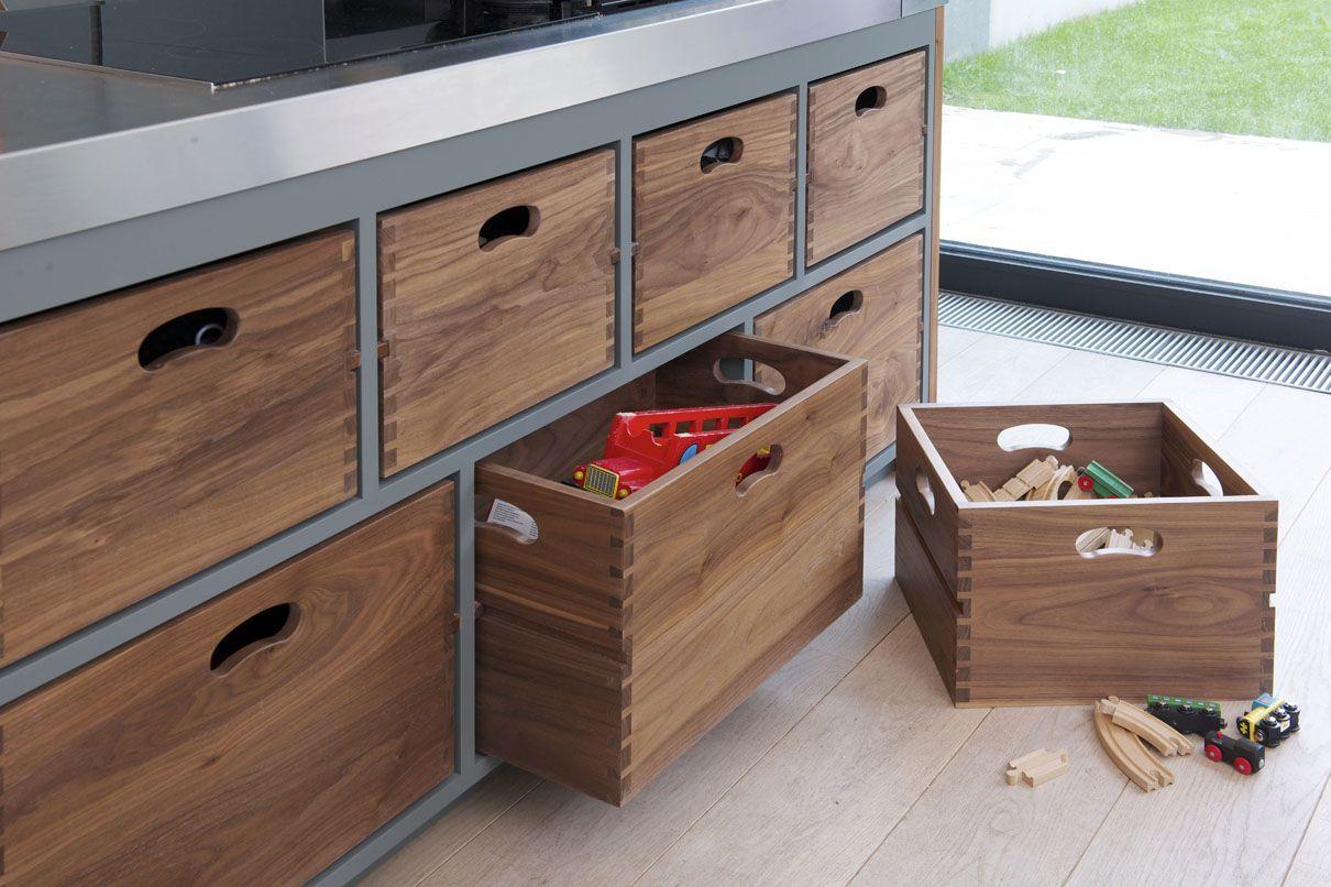 Deep walnut wood storage drawers in the kitchen island.   Kitchen ...