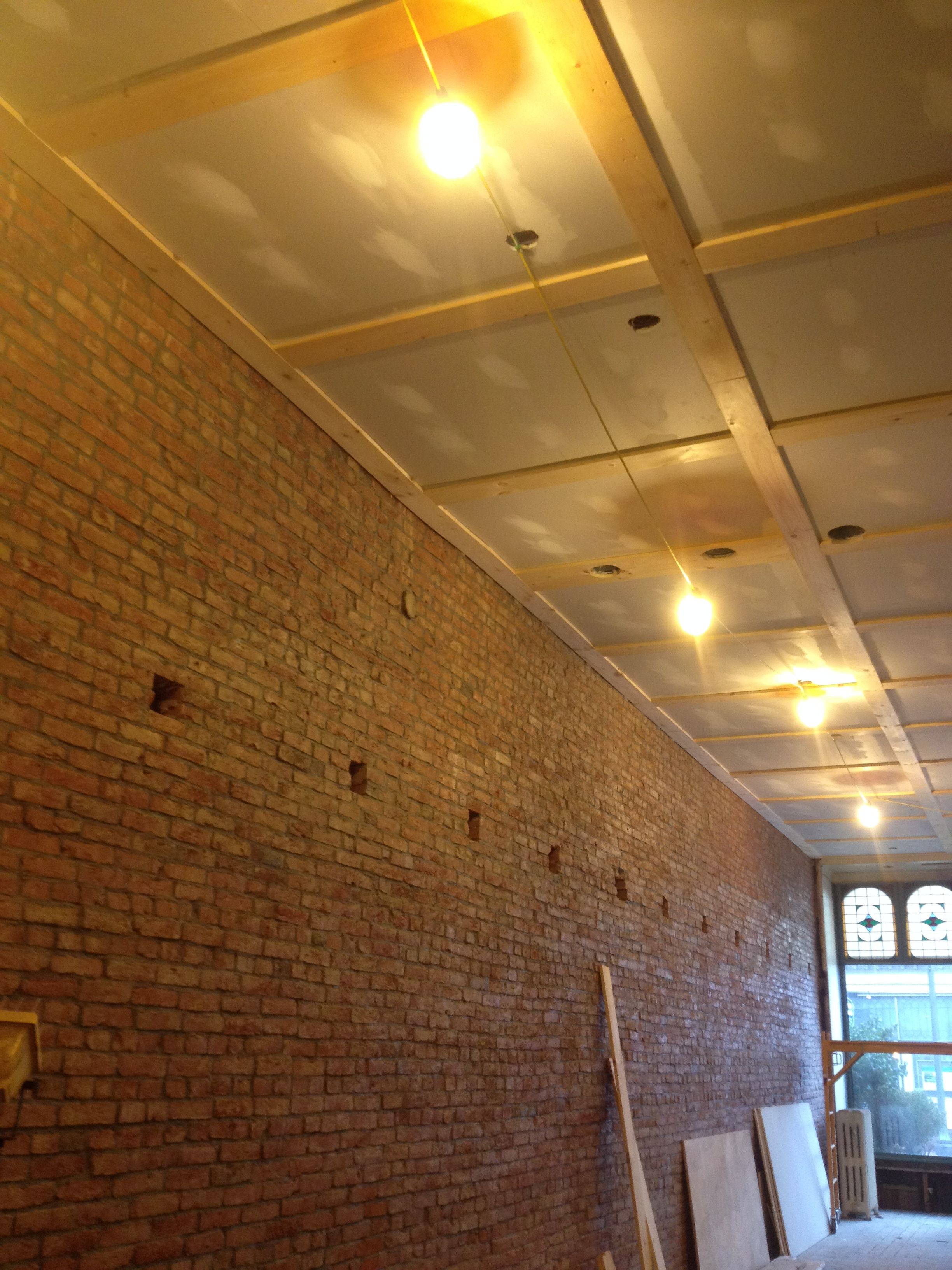 Nov 12th Ceiling Drywall And Wood Trim Hung Prepped Temporary Lighting