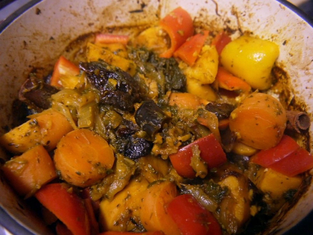 Sweet potato, eggplant and prune tagine with couscous