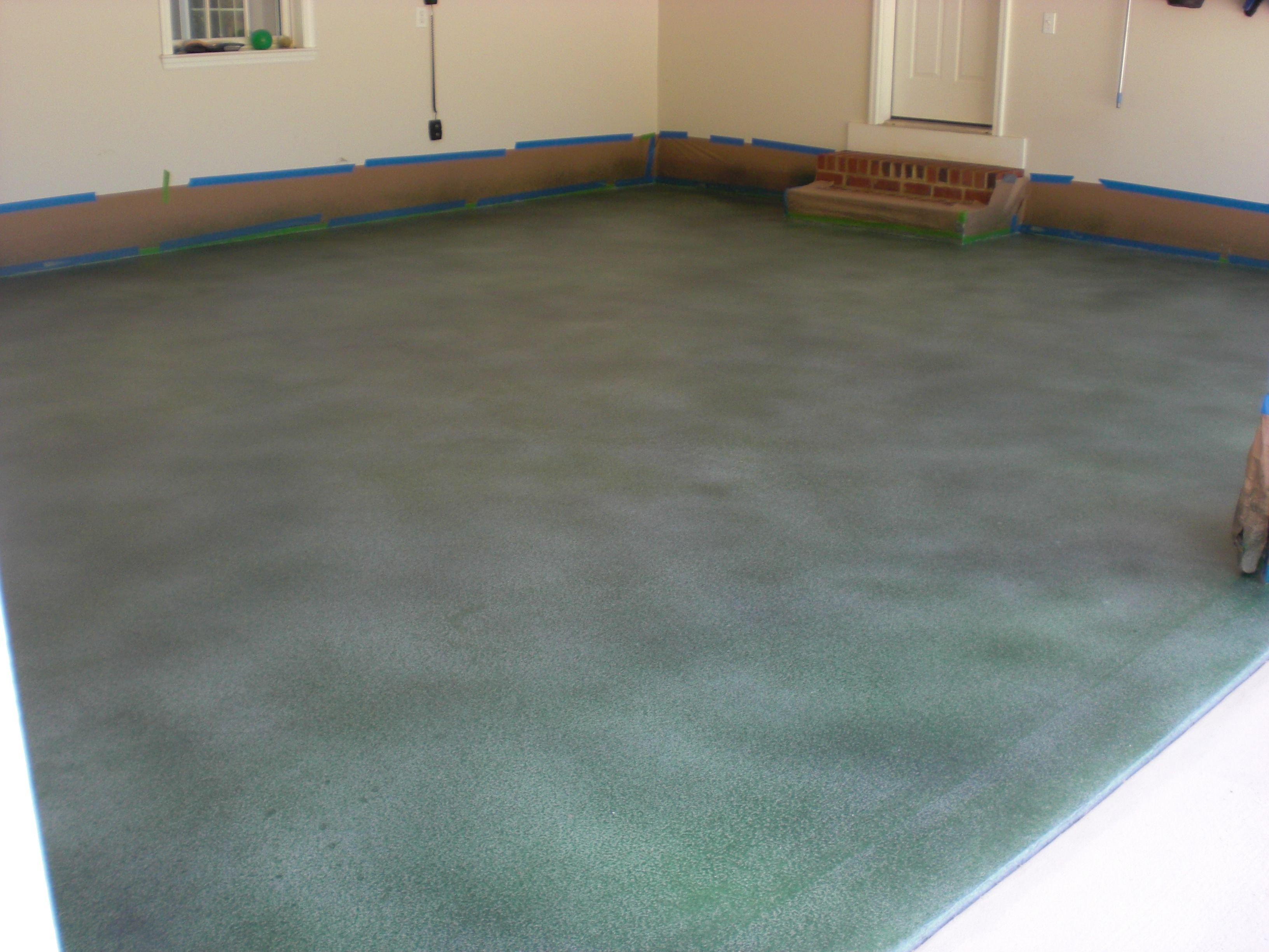 Garage Floor With Solid Base Coat Silver Gray Semi Transparent
