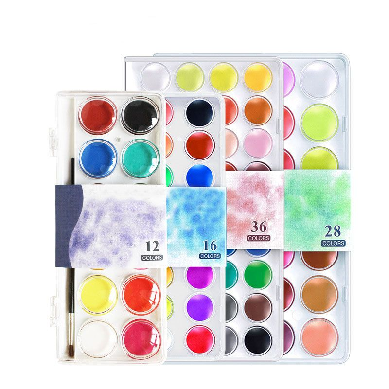 12 16 28 36 Colors Set Solid Watercolor Cake Outdoor Paint Pigment