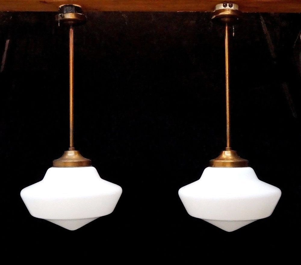 Pair large antique vintage white glass schoolhouse pendant ceiling antique ceiling light ebay arubaitofo Gallery