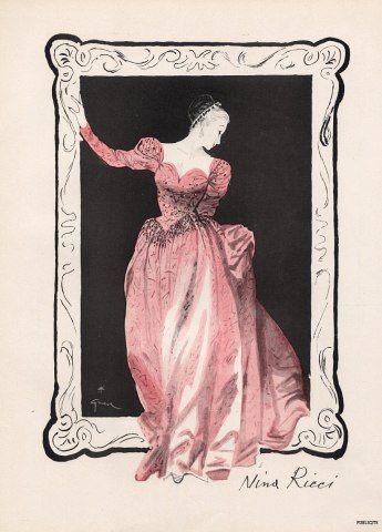 Nina Ricci | Germaine Lecomte 1946 René Gruau, Fashion Illustration, Evening Gown